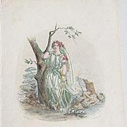 SALE Grandville Victorian Engraving 'Verveine' 1867 from Les Fleurs Animees.