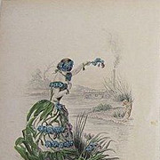 SALE Grandville Victorian Engraving 'Forget Me Not' 1867 from Les Fleurs Animees.