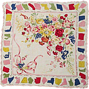 SOLD Unusual Handkerchief with All 48 State Flowers, 1950s