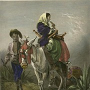 Large Matted Victorian Art Print  with Hand-colouring: The Way-side in Andalusia
