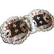 SALE Gaudy Welsh Imari palette double pickle dish