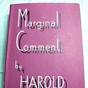 Marginal Comment January 6 to August 4 1939 by Harold Nicolson; First Edition 1939 with Dustwr