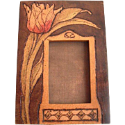 SALE Art Nouveau Pyrography Photo Frame