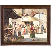 French Market Scene Oil Painting