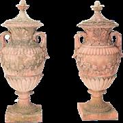Pair of Composite Terracotta Garden Urns