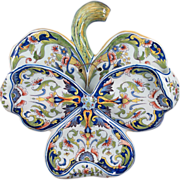 French Faience of Desvres Clover Wall Pocket