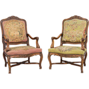 19th Century Pair of French Louis XV Style Fauteuils Armchairs