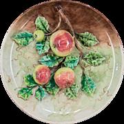 19th c. French Majolica Longchamps Apple Platter