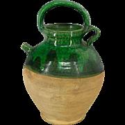 French Green Glazed Terra Cotta Jug