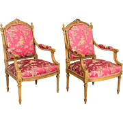 Suite of Louis XVI Style Arm and Side Chairs