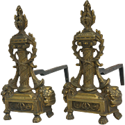 SOLD A late 19th. c. French Pair of Chenêts or Andirons