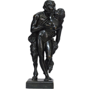 19th Century French Bronze, Satyr and Virgin