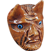 Old, Carved Briar, Smoking Pipe - Devil Face with Glass Eyes