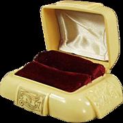 Old Ring Box - Dark Cream Bakelite with Maroon Inside
