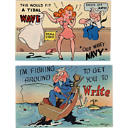 Two, Old, Humorous Military Postcards - Colorful and Never Used