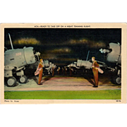 Old Postcard with WWII Airplanes- Night Training