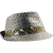 Boy's, Old, Woven Straw Fedora with Photo of Original Owner