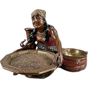 Old Card Receiver and Ashtray - Peasant Woman