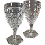 Old, American Pattern by Fostoria, Stemmed Water or Wine Goblets - Pair