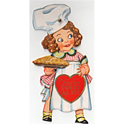 SOLD Old, Mechanical Valentine with Little Girl Baker