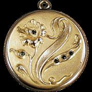 Old Picture Locket with Art Nouveau, Floral Design & Stones
