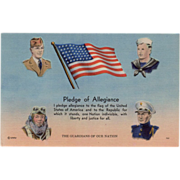 SOLD Old, Patriotic Postcard with the Pledge of Allegiance