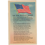 Old, Patriotic Postcard - The Star Spangled Banner