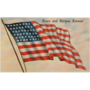 Old, Patriotic Postcard - The American Flag