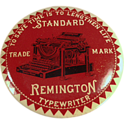 Old, Celluloid, Advertising Mirror Paperweight - Remington Typewriter
