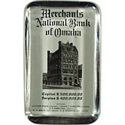 Old, Glass Paperweight Advertising the Bank of Omaha