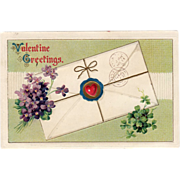SALE Old Valentine Postcard with Violets & Shamrocks