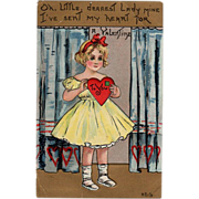 SALE Old, Valentine Greeting Postcard with a Little Girl