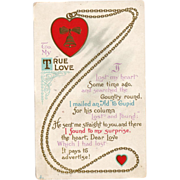 SALE Old Valentine Postcard - Cute Poem