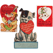 SOLD Old Valentines with Dogs - 3 Different Designs