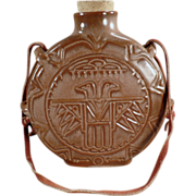 Old, Frankoma, Thunderbird Canteen In Brown Glaze with Leather Strap