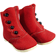 Old, High Button, Red Felt Baby Shoes with Original Label