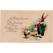 Old, Easter Postcard with Dressed Rabbit and Little Chick