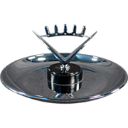 Old, Pincherette, Chrome Ash Tray with Modernistic Crown Design