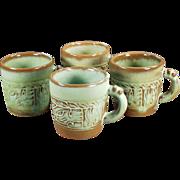 Old Frankoma - 4 Mayan-Aztec Coffee Cups in Green Glaze