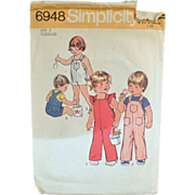 SOLD Old Simplicity #6948 Pattern - Toddler's Overalls - 1975