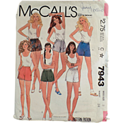Old, McCall's Pattern #7943 - Miss Size 8 Short-Shorts - 1982