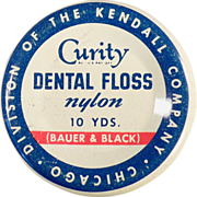 Old, Curity Dental Floss Tin - Bauer & Black