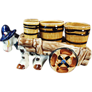 Old, Condiment Set - Salt, Pepper, Cream & Sugar - Donkey Cart