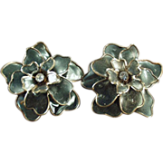 Old Costume Jewelry Earrings - Large Flowers with Rhinestones - Clip On Style