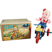 Old, Occupied Japan, Wind Up Toy - Celluloid Boy on Tricycle with Original Box