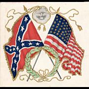 SOLD Old, Patriotic Postcard - U.S. Flag & Confederate States Flag