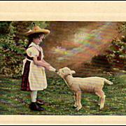 SOLD Old, Photograph Postcard - Little Girl Feeding a Lamb