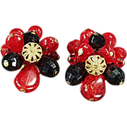 Old, Clip On Earrings - West German, Red & Black Beads