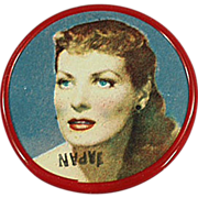 Old, Celluloid Pocket Mirror with Movie Star Maureen O'Hara