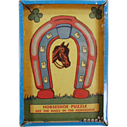 """Old Dexterity Game - Horseshoe Puzzle - """"Get the Nails in the Horseshoe"""""""